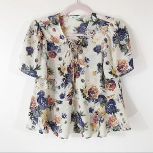 Urban Outfitters Kimchi Blue Floral Peplum Top, M